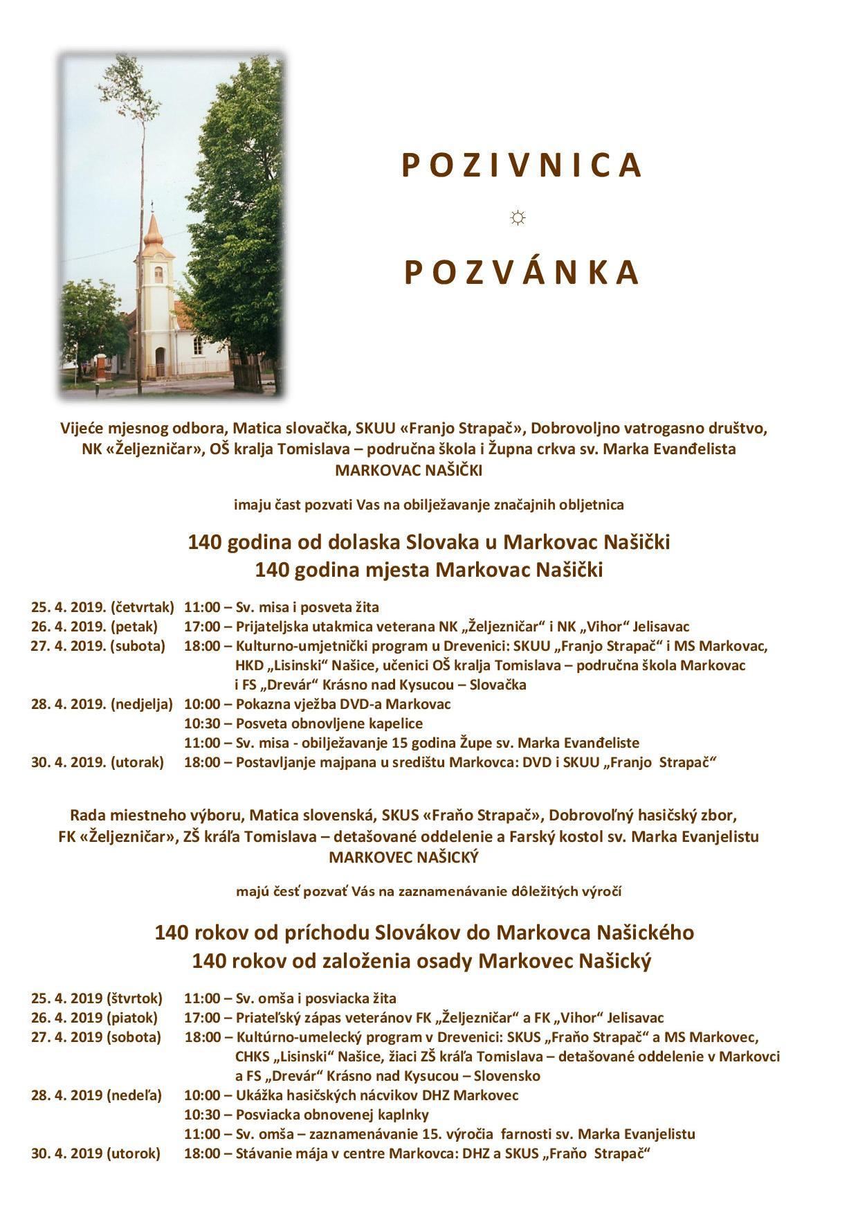 Markovčani slave 140 obljetnicu dolaska Slovaka u Markovac Našički