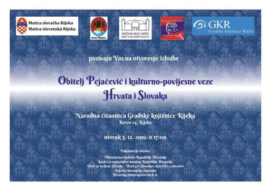 """Izložba """"Obitelj Pejačević i kulturno-povijesne veze Hrvata i Slovaka"""" od danas u Rijeci"""
